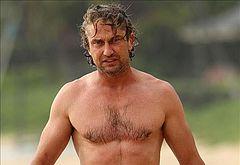 Gerard Butler bulge beach