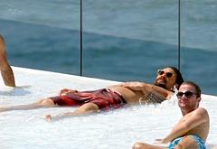 Jason Momoa sunbathing
