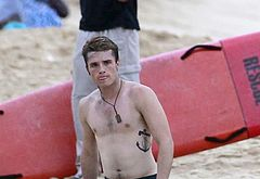 Josh Hutcherson shirtless beach