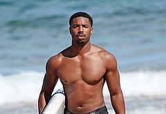 Michael B Jordan sunbathing shirtless