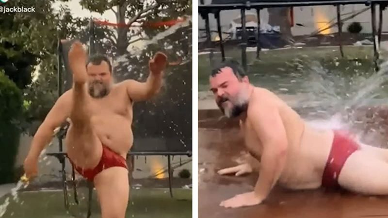 Challenge accepted! Jack Black dancing in red speedos for the WAP challenge