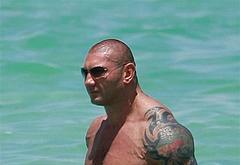 Dave Bautista sunbathing