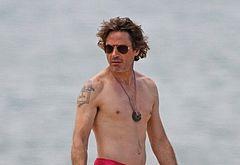 Robert Downey Jr sunbathing