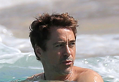 Robert Downey Jr swimming