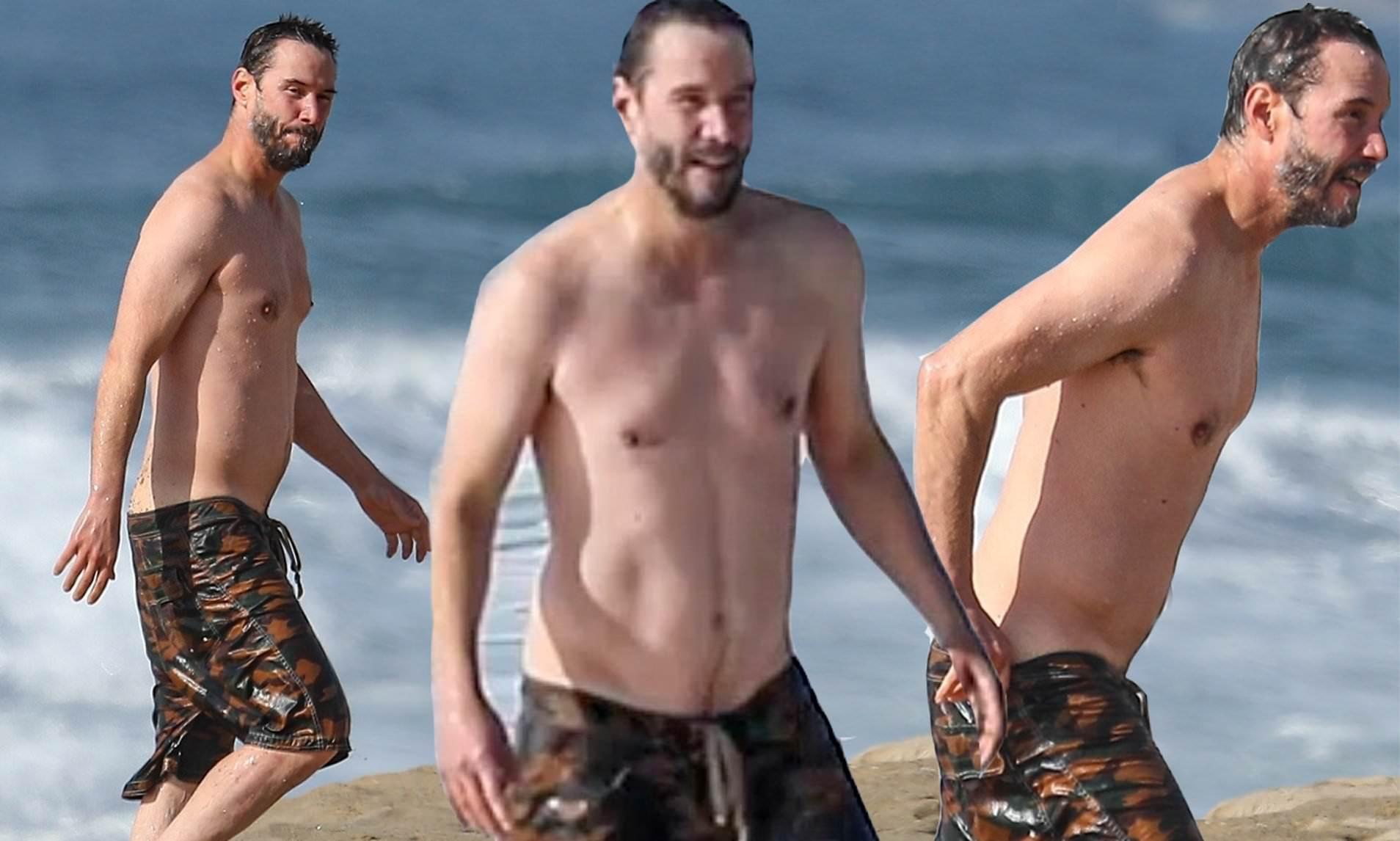 Keanu Reeves, 56, showed off his great physique while swimming in the freezing cold ocean!
