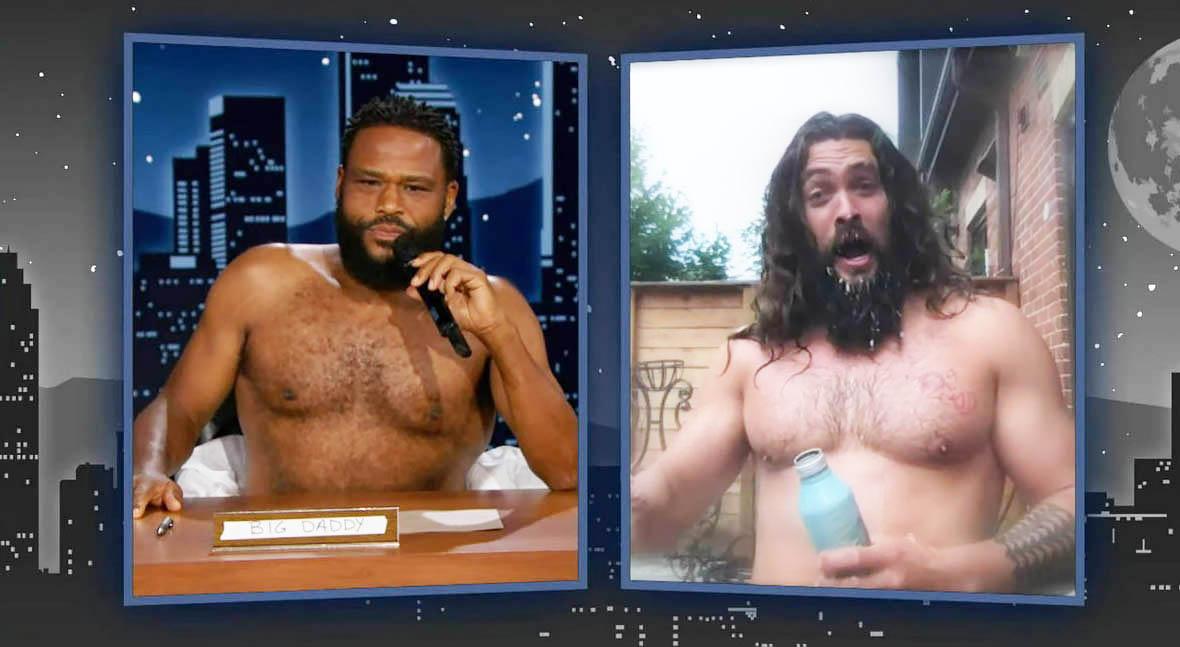 Sexy Jason Momoa striptease during 'Kimmel' Interview
