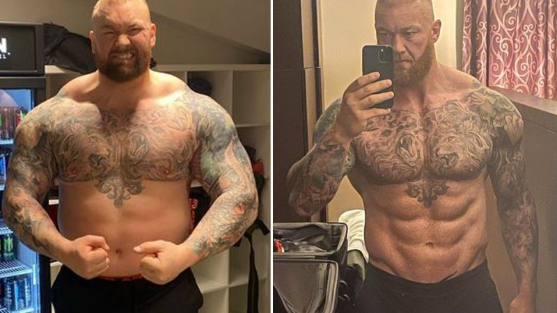 Hafthor Bjornsson impresses with his physique ahead a boxing match